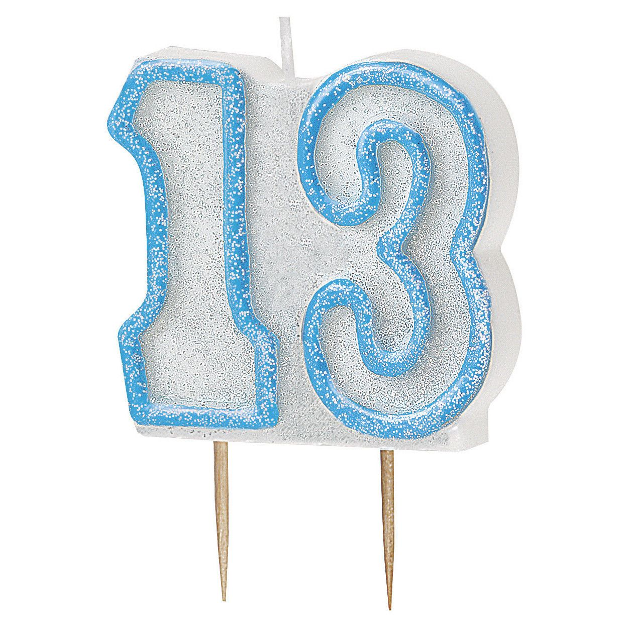 Blue Glitz 13 Number Candle