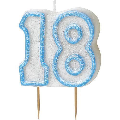 Blue Glitz 18 Number Candle