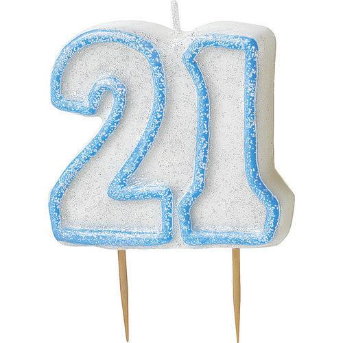 Blue Glitz 21 Number Candle