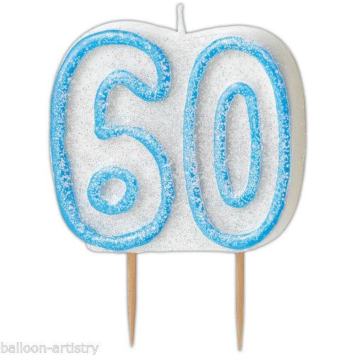 Blue Glitz 60 Number Candle