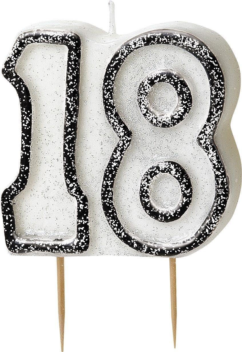 Black Glitz 18 Number Candle