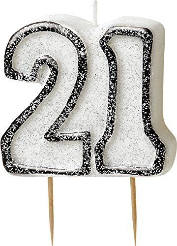 Black Glitz 21 Number Candle