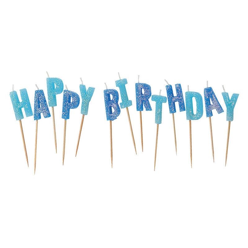 Blue Glitz Glitter Happy Birthday Candle