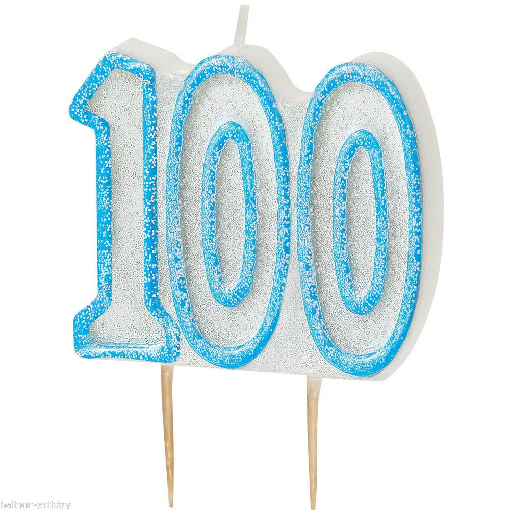 Blue Glitz 100 Number Candle