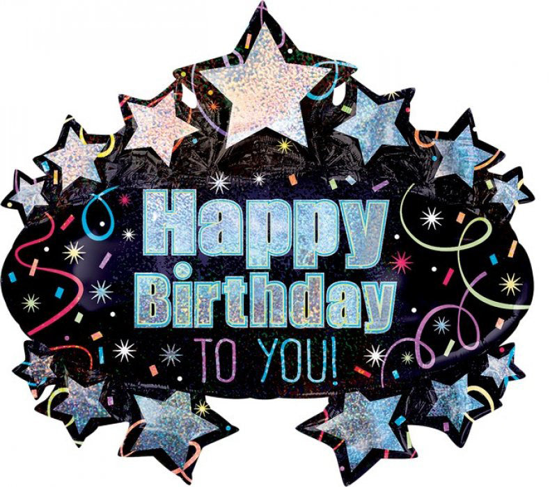 Happy Birthday To You Brilliant Marquee SuperShape Foil Balloon 78cm x 71cm - Party Savers