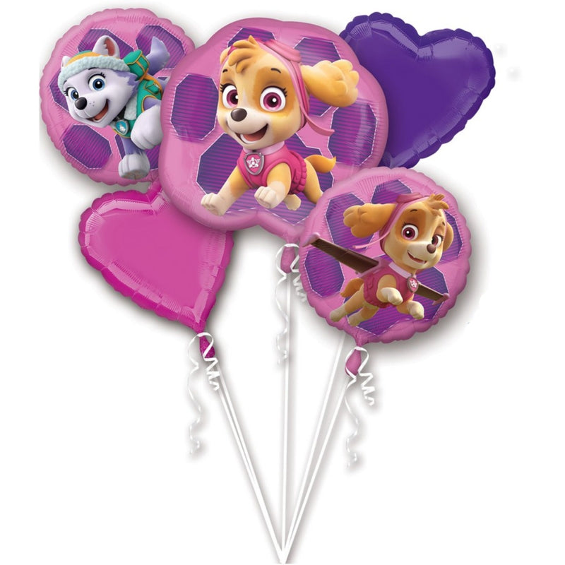 Paw Patrol Skye & Everest Foil Balloon Bouquet 5pk - Party Savers