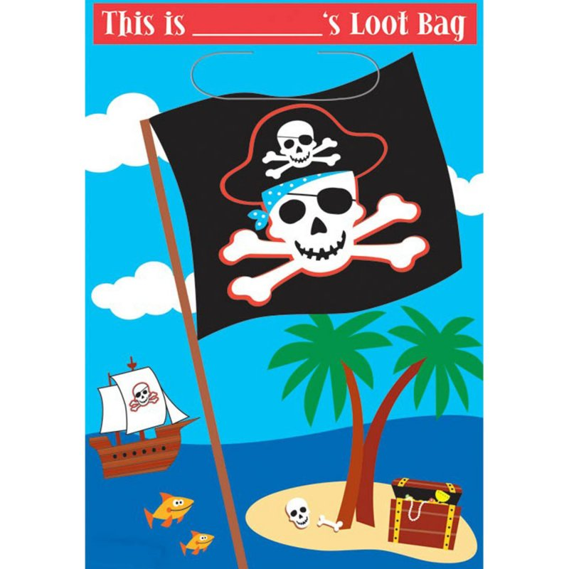 Pirate Party Folded Loot Bags 8pk