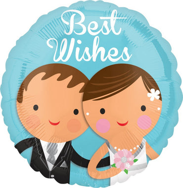 Best Wishes Wedding Couple Foil Balloon 45cm