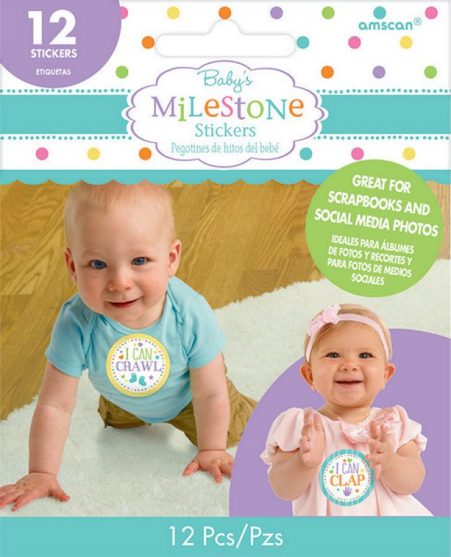 Baby Shower Stickers Milestone 12pk - Party Savers