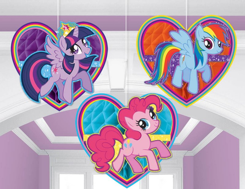 My Little Pony Friendship Honeycomb Decorations 3pk
