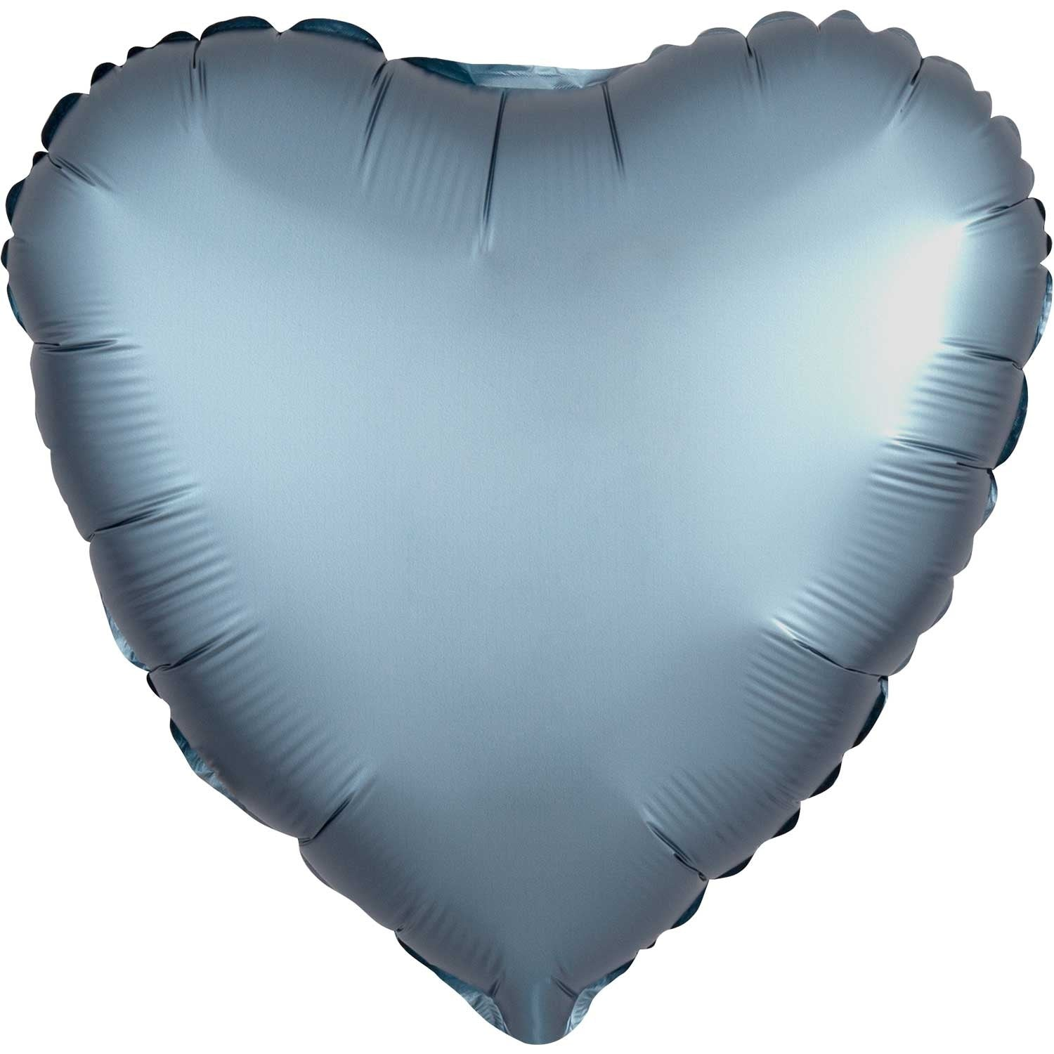 Pastel Blue Satin Heart Foil Balloon 43cm - Party Savers