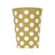 Gold Dotty Paper Cups 355ml 6pk - Party Savers