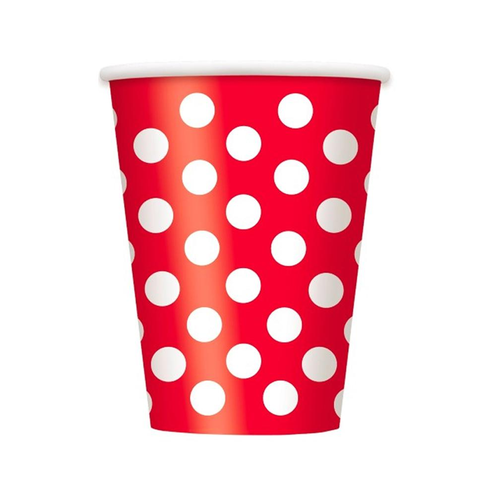 Red Dotty Paper Cups 355ml 6pk