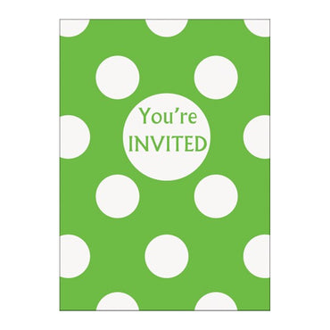 Lime Green Dots Invitations 8pk - Party Savers