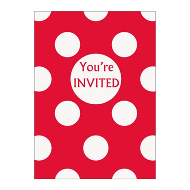 Red Dots Invitations 8pk - Party Savers