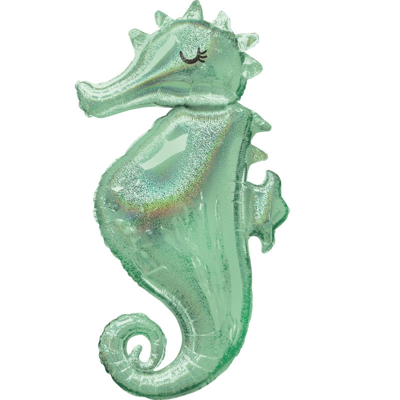 Mermaid Wishes Seahorse Holographic SuperShape Foil Balloon - Party Savers