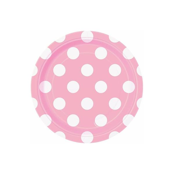 Pastel Pink Dotty Paper Plates 18cm 8pk - Party Savers