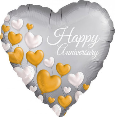 Anniversary Platinum Hearts Foil Balloon 45cm - Party Savers