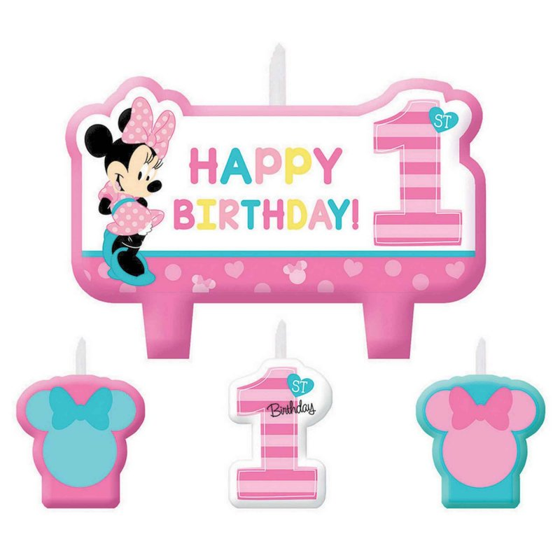 Minnie Fun To Be One Birthday Candle Set 4pk - Party Savers
