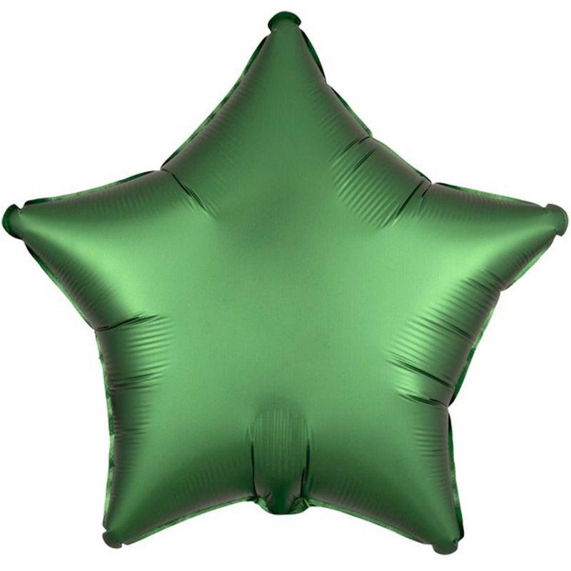 Green Satin Star Foil Balloon 48cm - Party Savers