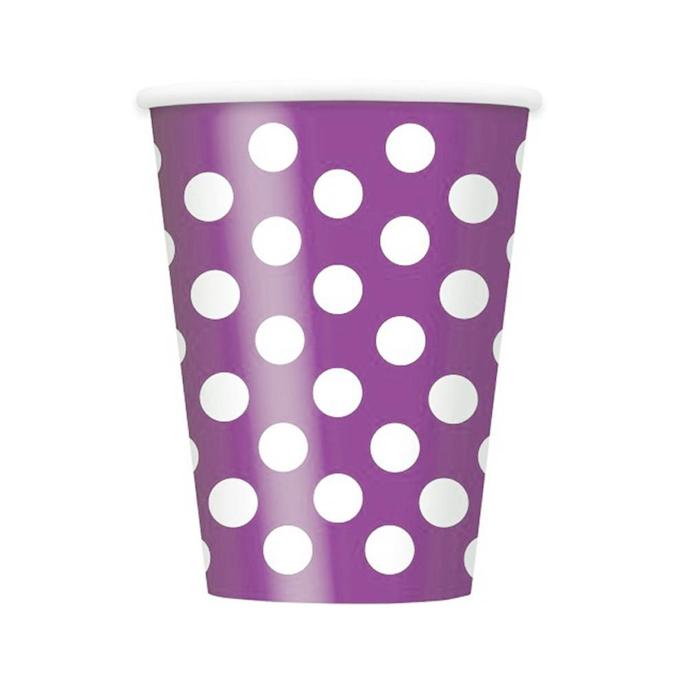 Red Dotty Paper Cups 355ml 6Pk - Party Savers