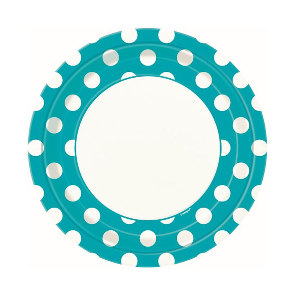 Teal Dotty Paper Plates 23cm 8pk - Party Savers