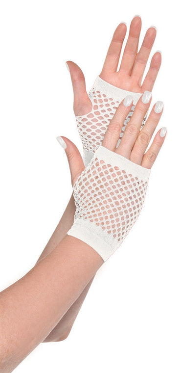 White Short Fishnet Gloves