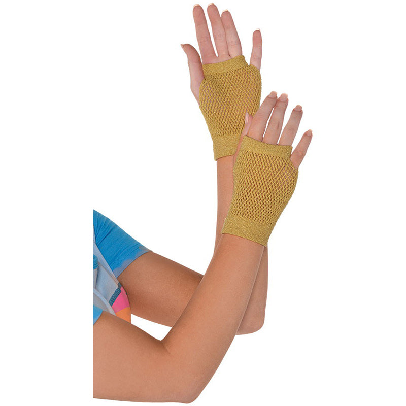 Gold Short Fishnet Gloves - Party Savers