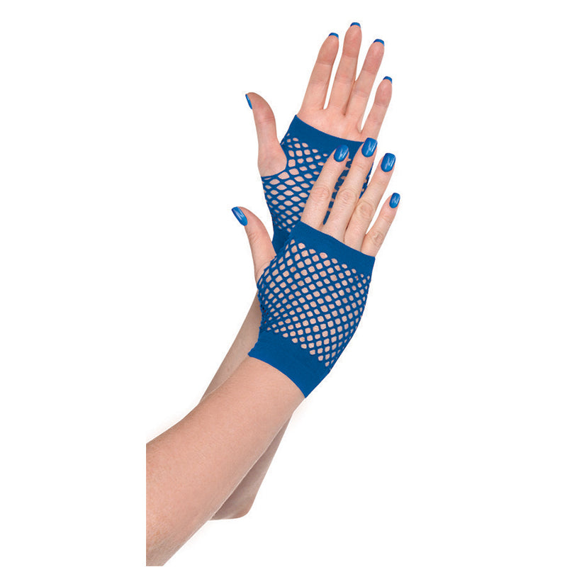 Blue Short Fishnet Gloves