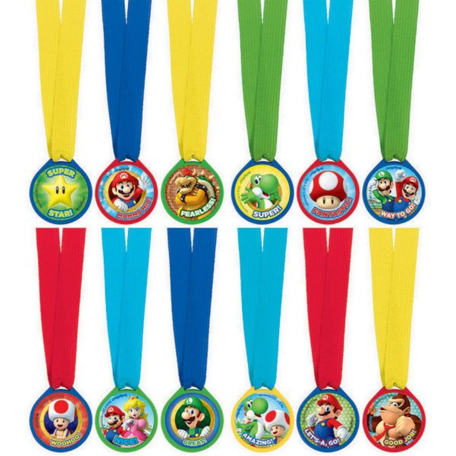 Super Mario Brothers Mini Award Medals 12pk - Party Savers