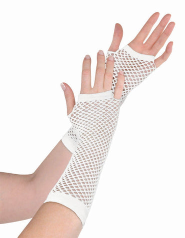 White Fishnet Gloves Long