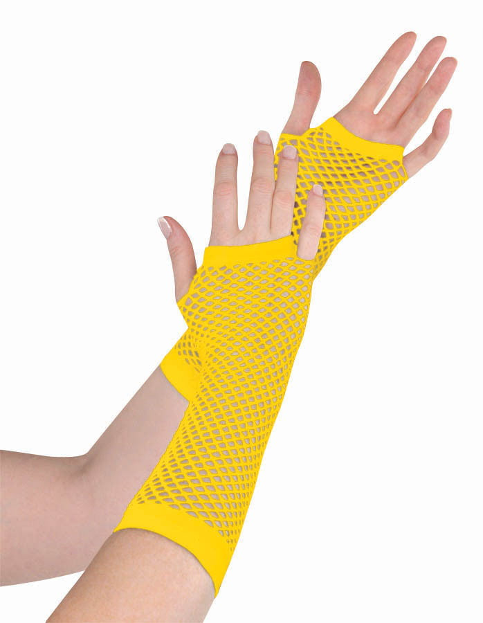 Yellow Fishnet Gloves Long - Party Savers