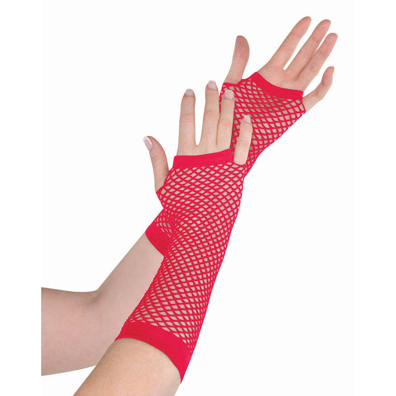 Red Fishnet Gloves Long - Party Savers