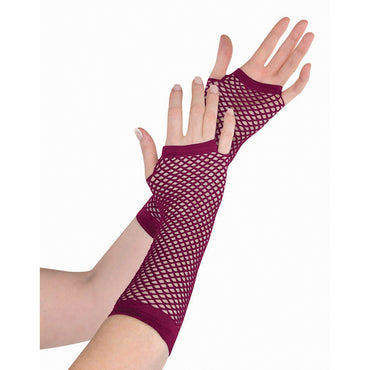 Burgundy Fishnet Gloves Long