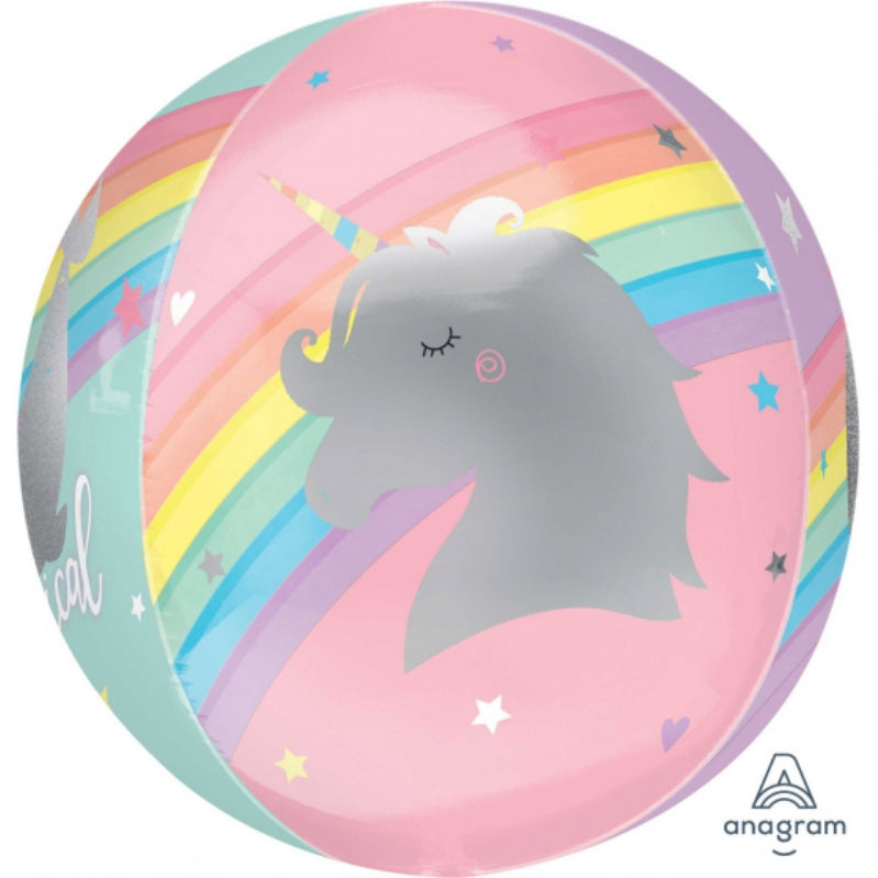 Magical Rainbow Unicorn Orbz Self Sealing Foil Balloon 38cm x 40cm - Party Savers
