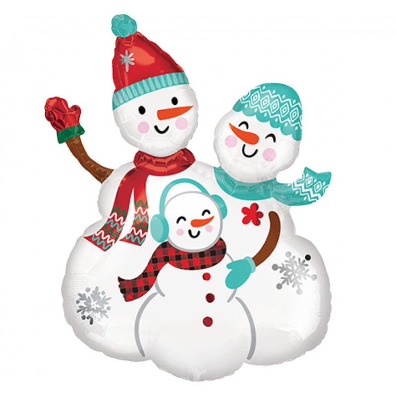 Snowmen Family Group SuperShape Self Sealing Foil Balloon 58cm x 78cm Each - Party Savers