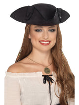 Black Tricorn Pirate Captain Hat - Party Savers