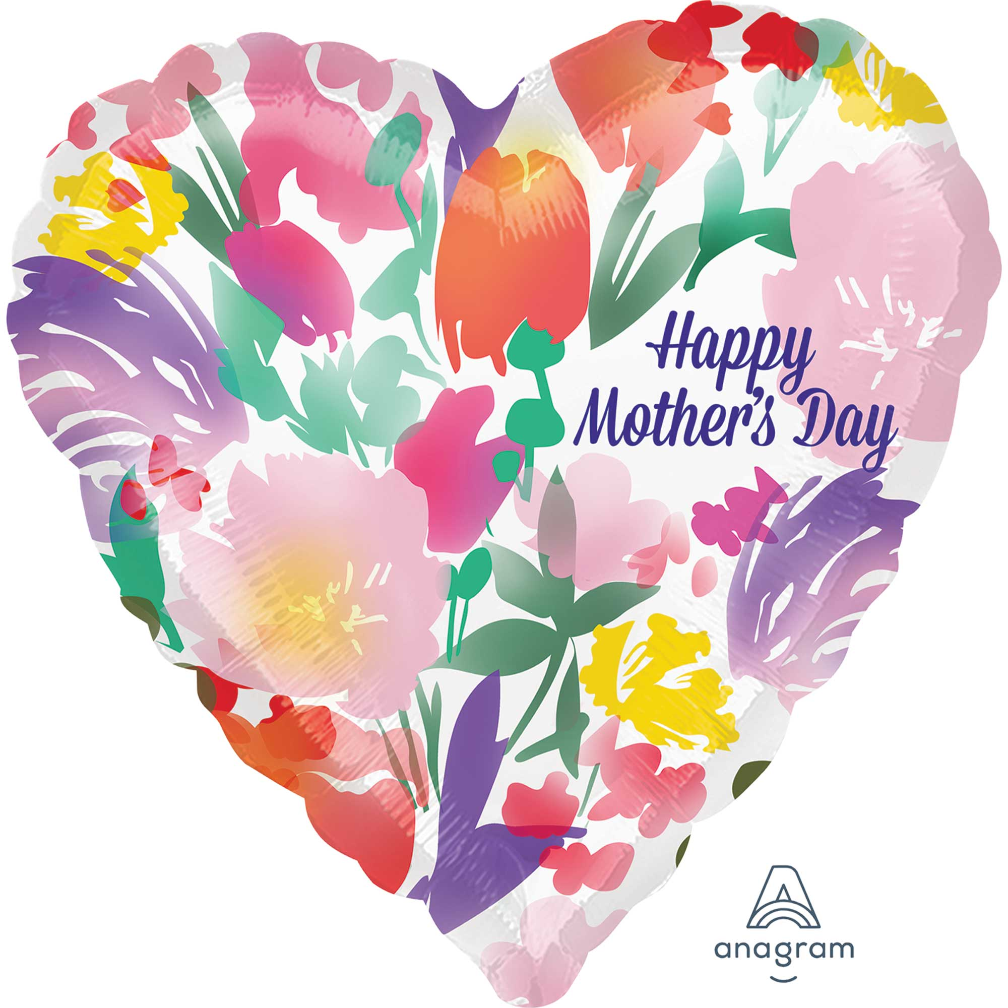 Happy Mother's Day Watercolour Flowers Foil Balloon 45cm - Party Savers