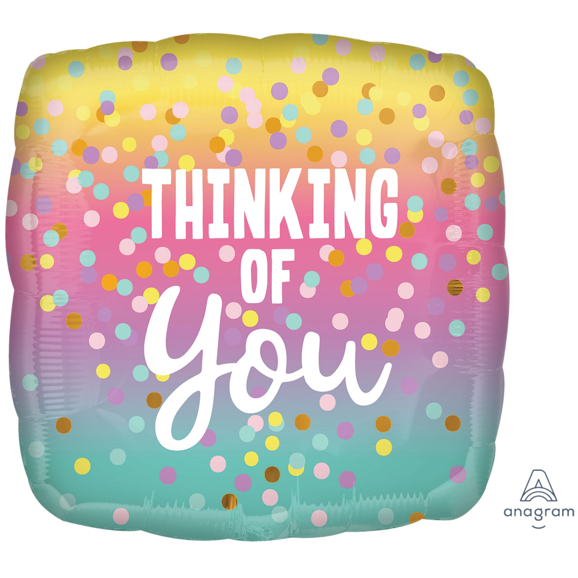 Thinking of You Pastel Dots Foil Balloon 45cm - Party Savers