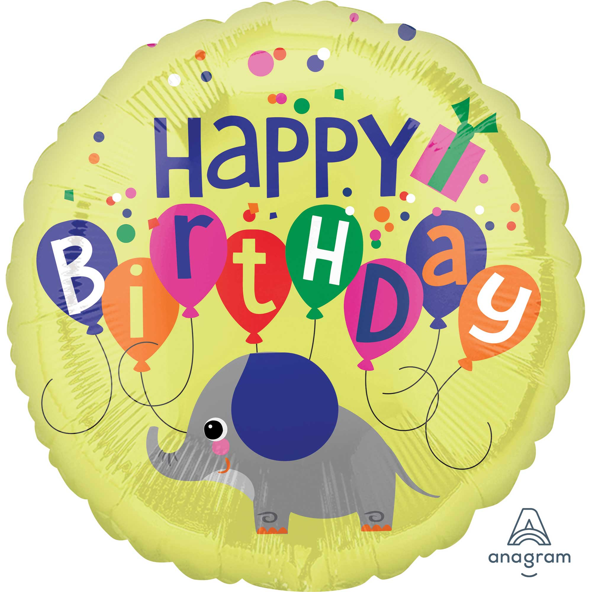 Elephant Happy Birthday Foil Balloon 45cm - Party Savers