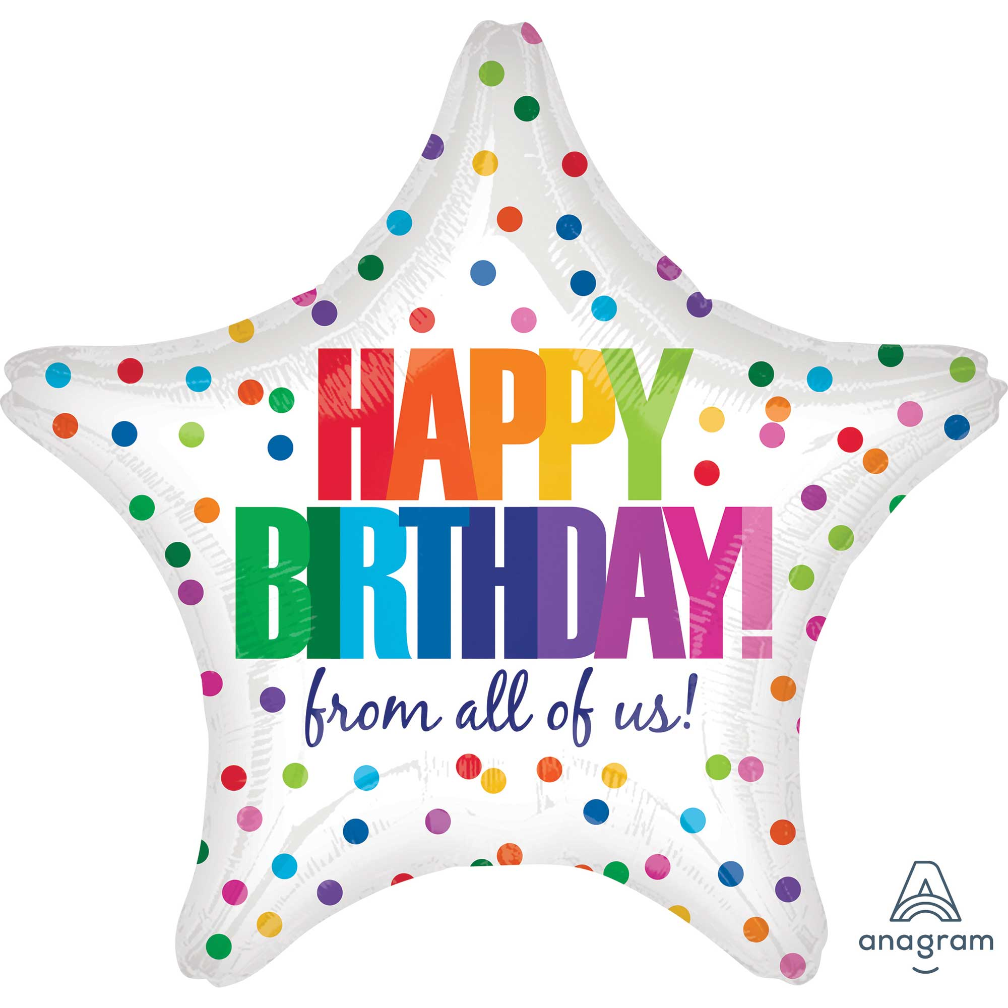 Star Happy Birthday from all of us Dots Foil Balloon 45cm - Party Savers