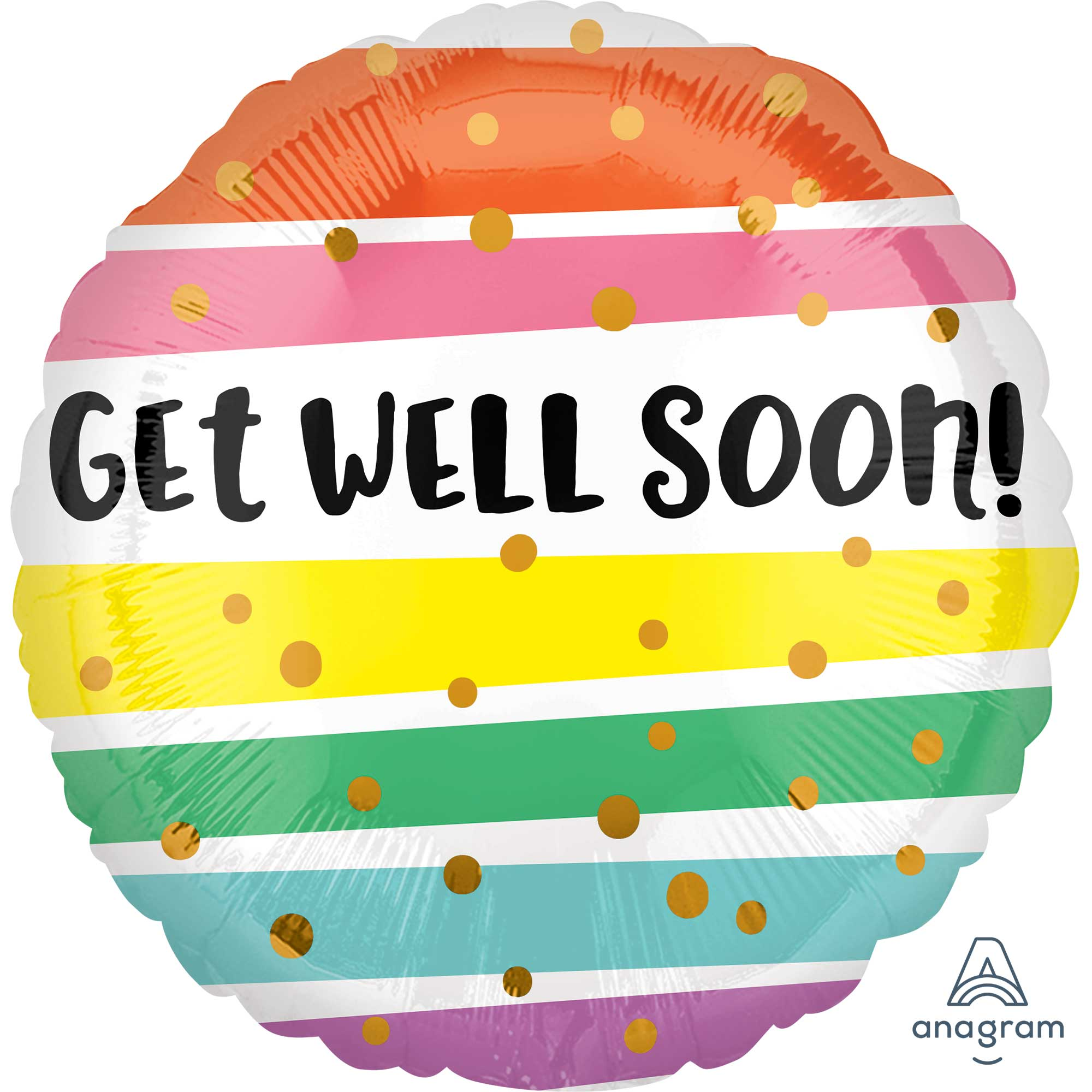 Get Well Soon Bold Stripes Foil Balloon 45cm - Party Savers