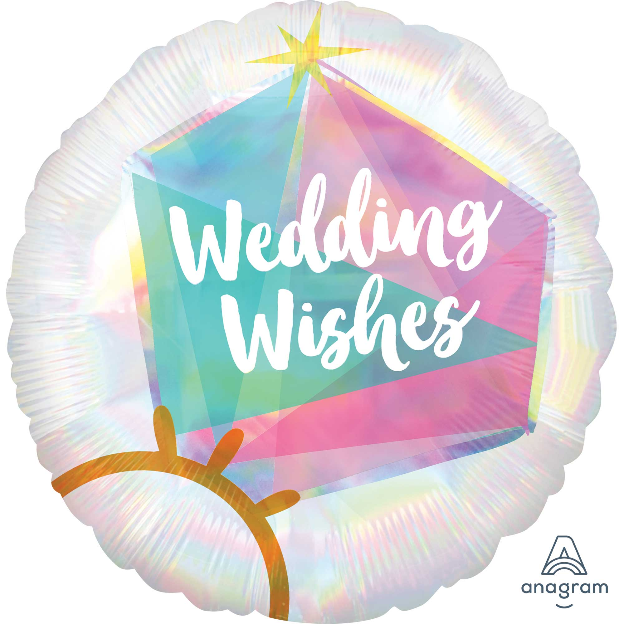 Wedding Ring Wedding Wishes Iridescent Holographic Foil Balloon 45cm - Party Savers