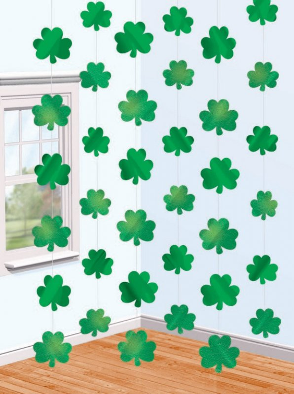 Shamrock String Foil Decorations 2.1m 6pk - Party Savers