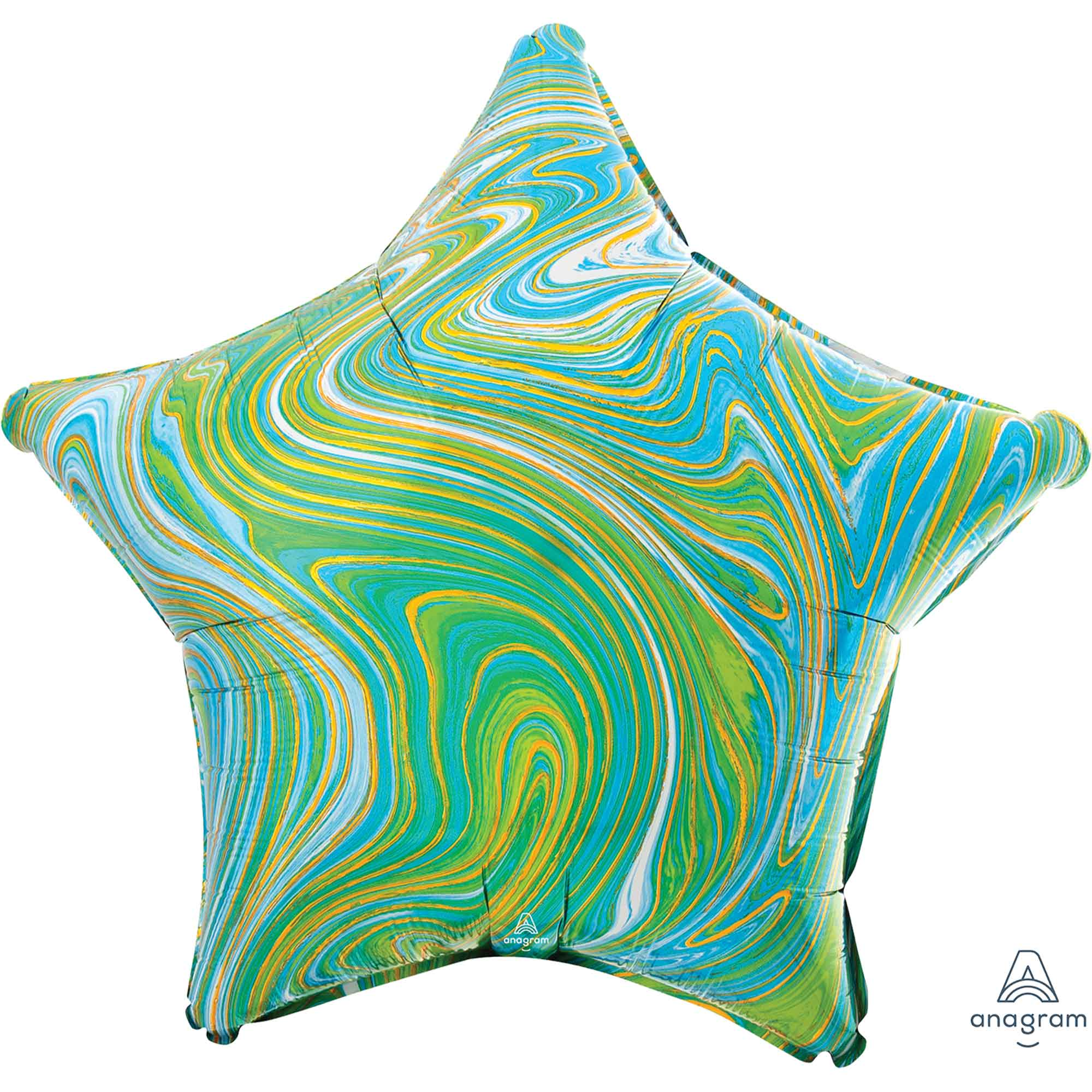 Marblez Blue Green Star Foil Balloon 45cm - Party Savers