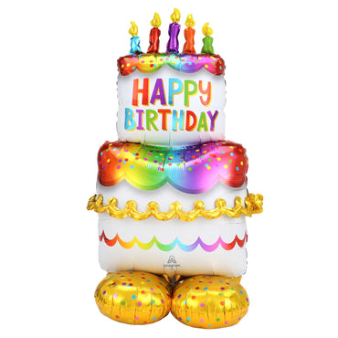 AirLoonz Happy Birthday Cake Foil Balloon 71cm x 139cm Each - Party Savers