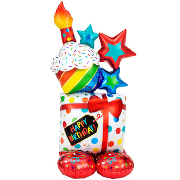 AirLoonz Happy Birthday Stack Foil Balloon 71cm x 139cm Each - Party Savers