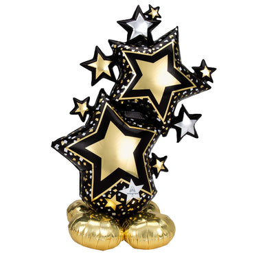 AirLoonz Black & Gold Star Foil Balloon 86cm x 149cm Each - Party Savers