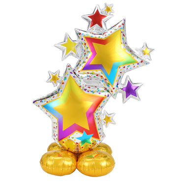 AirLoonz Colourful Star Cluster Foil Balloon 86cm x 149cm Each - Party Savers