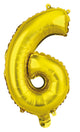 Number 6 Gold Foil Balloon 35cm